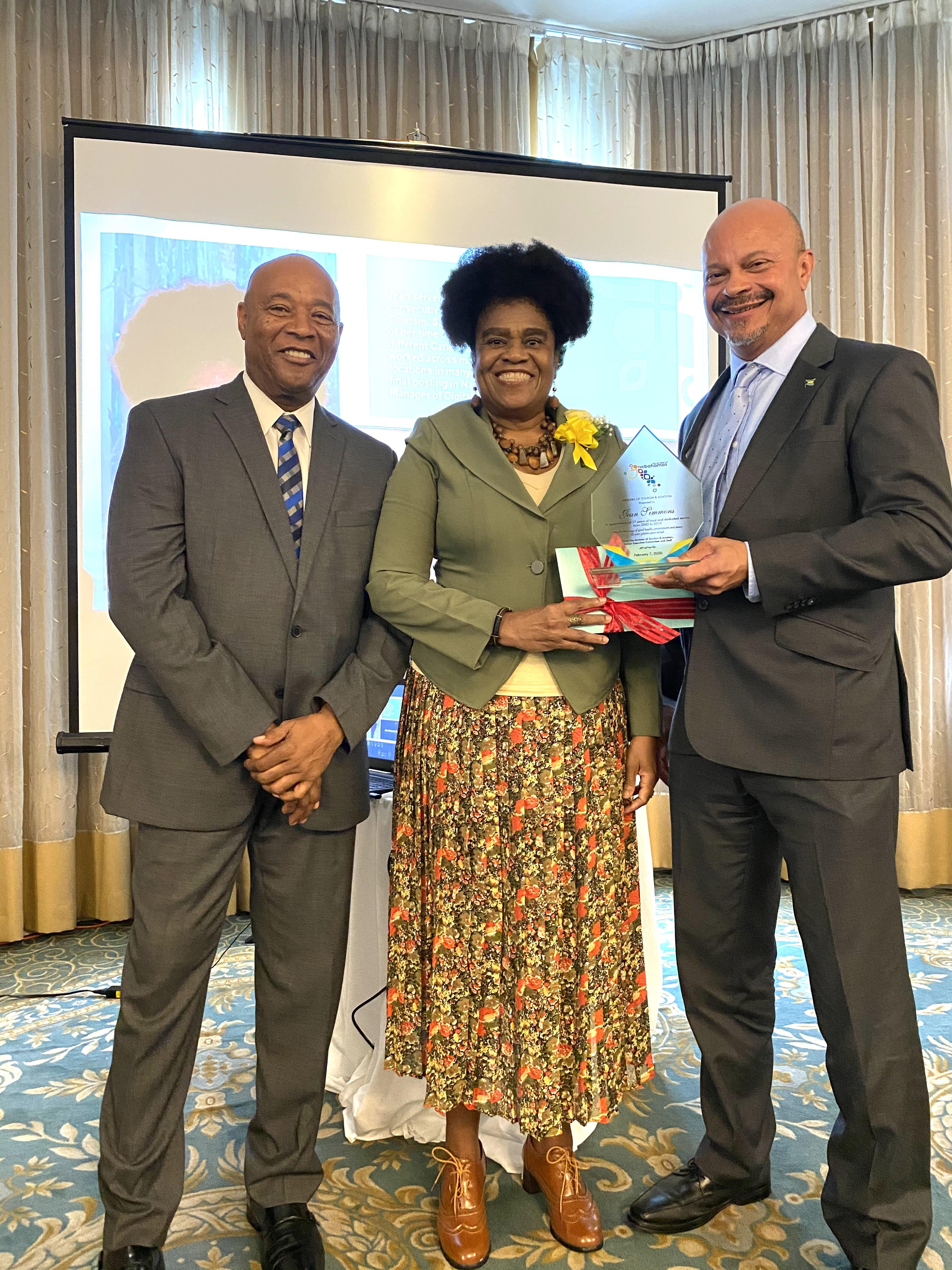 """Honouree Jean Simmons- Cleare along with BMOTA Permanent Secretary Charles Albury and Deputy Director General, Ellison """"Tommy"""" Thompson"""