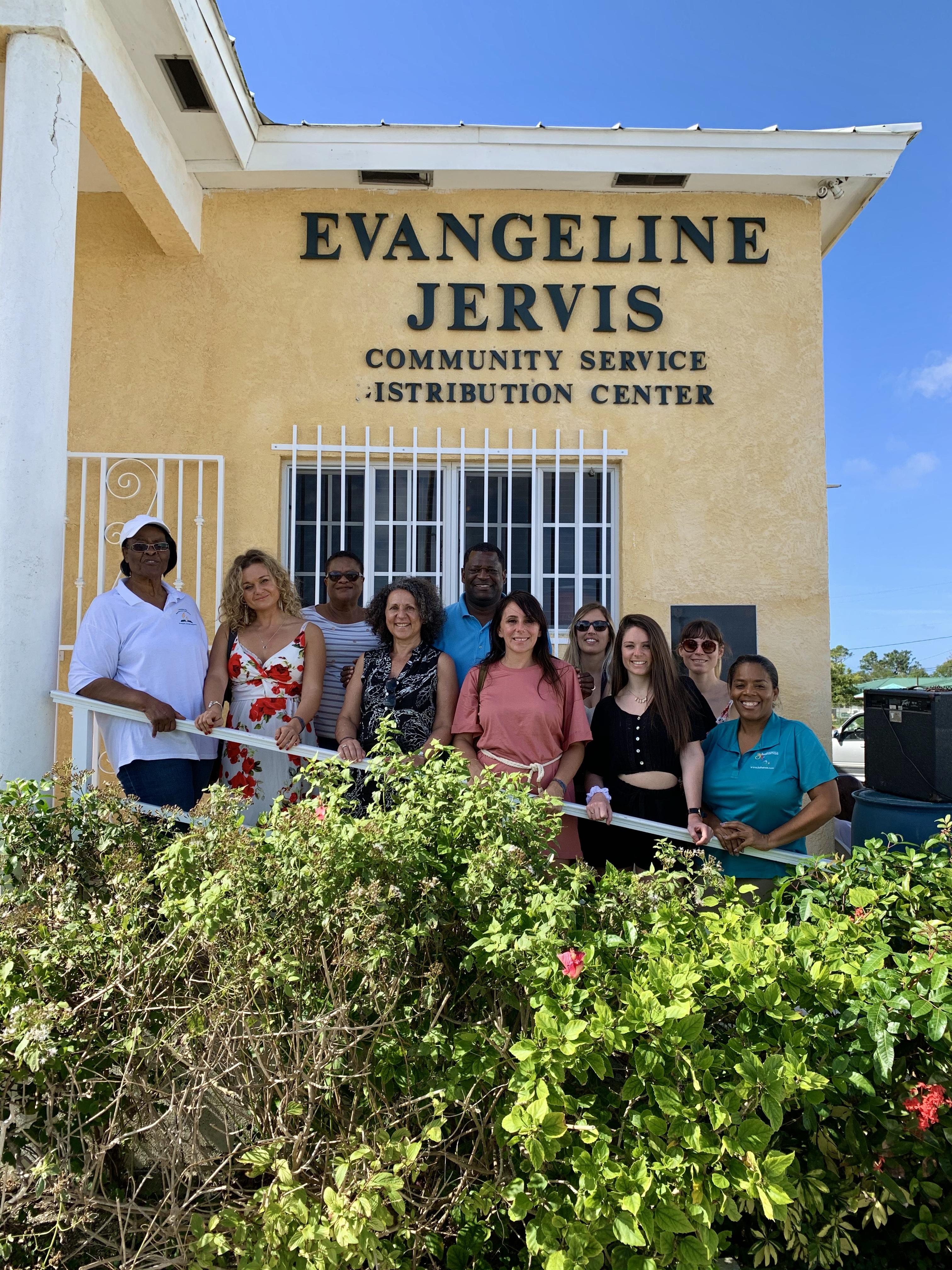 The group of French influencers visited the Evangeline Jervis Community Service Distribution Centre to learn about areas of need on the island and how visitors are able to assist. Here the group is pictured with BMOTA representatives and members of the Fr