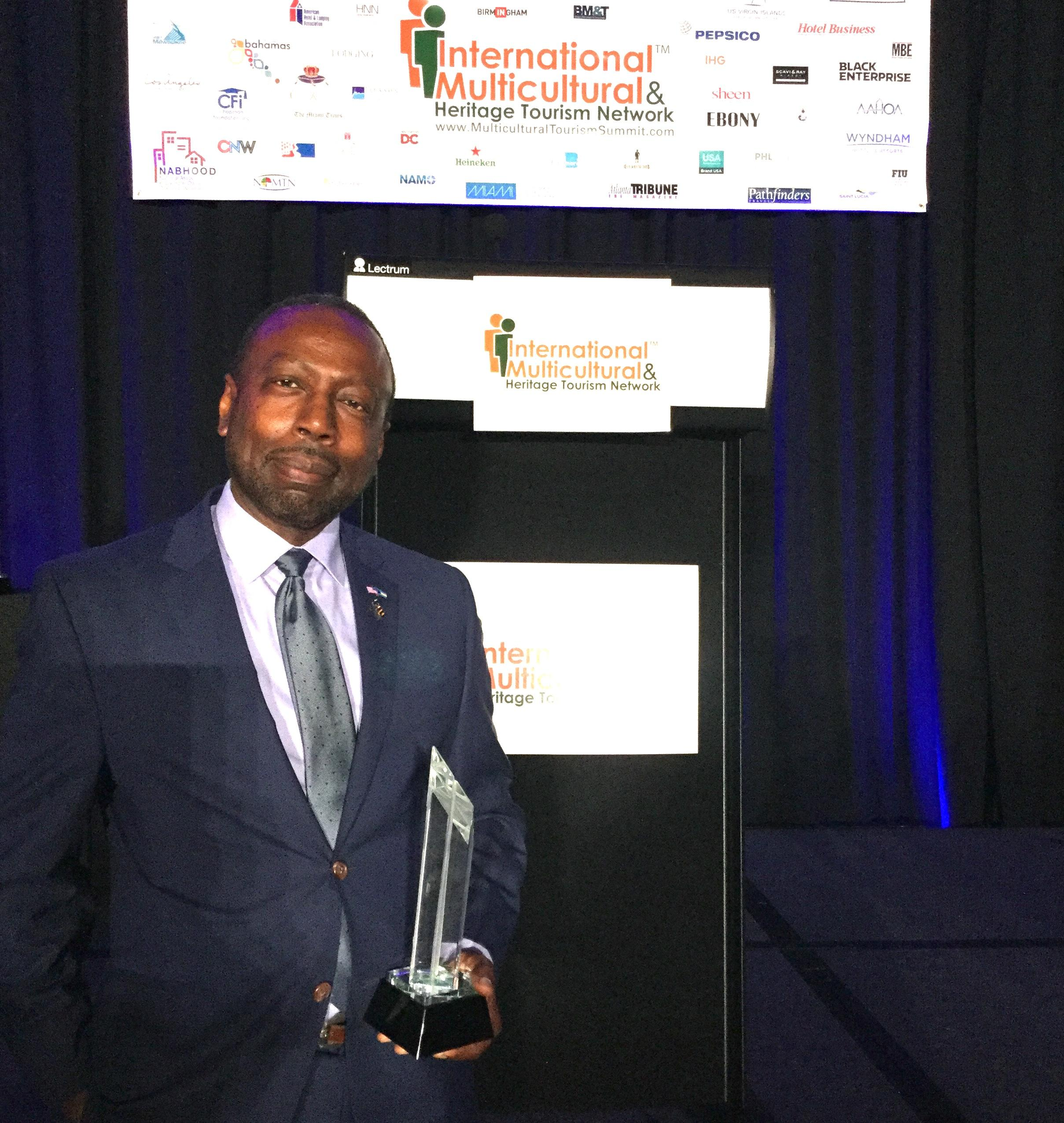 Linville Johnson, responsible for the Multicultural Department of The Bahamas Ministry of Tourism and Aviation is pictured with his Apex Award, received from Black Meetings and Tourism's Magazine for his outstanding contributions to the Hospitality and To