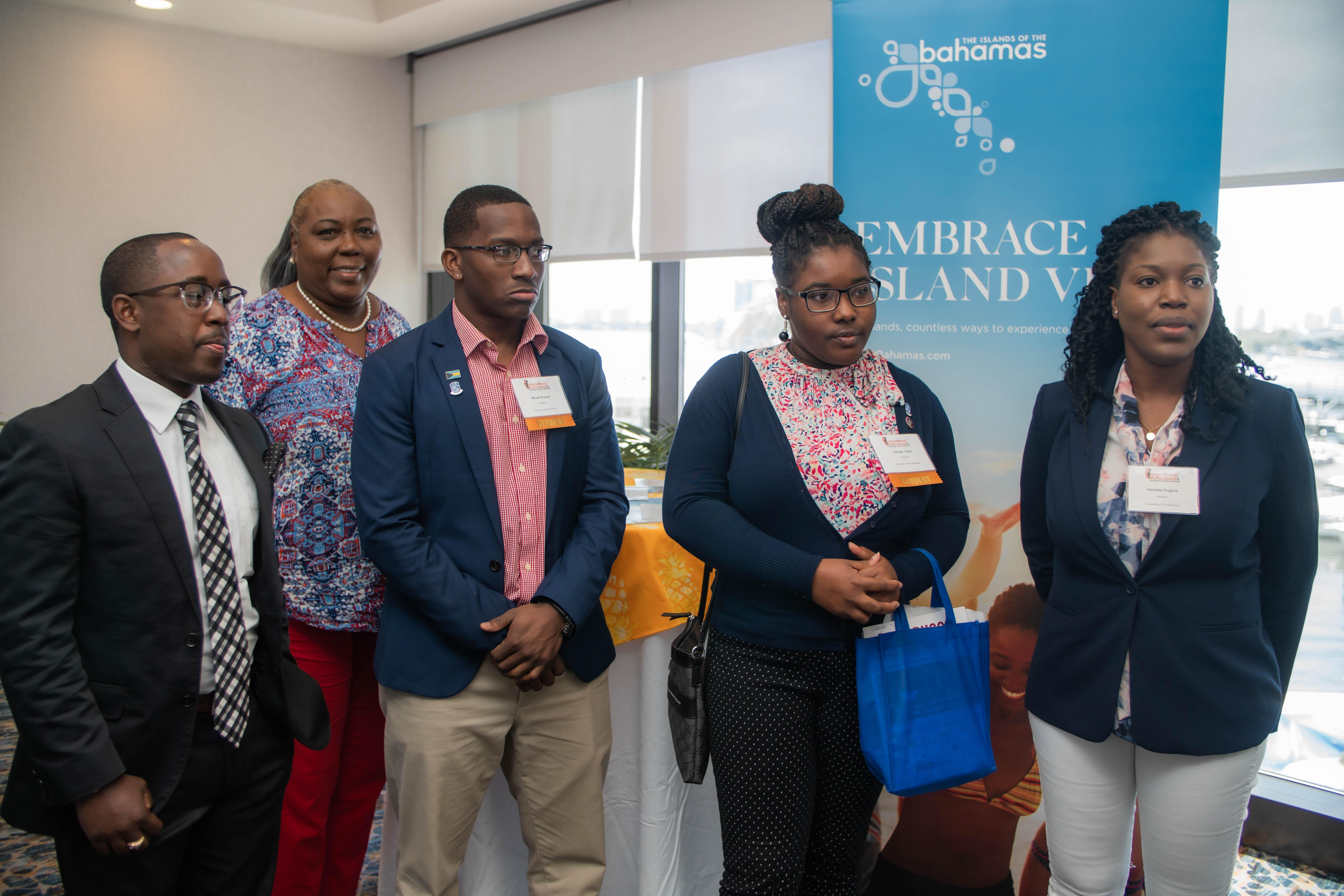 Pictured are Bahamian students who were in attendance at the recent Annual Summit and Trade Show of the National Association of Black Hotel Owners, Operators and Developers and the International Multicultural and Heritage Tourism Network in Miami, Florida