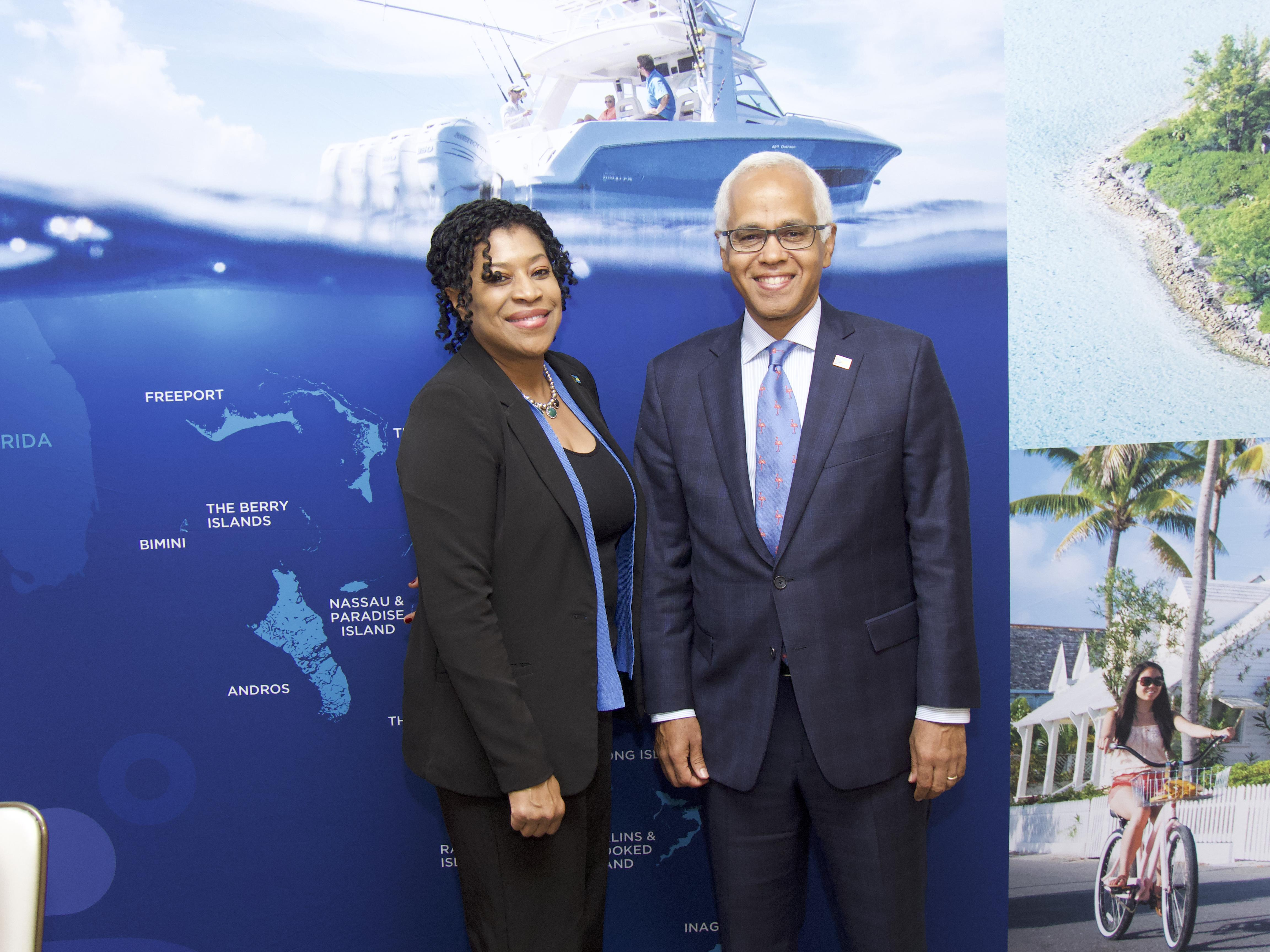 Charnelle Brown, Deputy High Commissioner along with Bahamas Minister of Tourism, Hon. Dionisio D'Aguilar at Vancouver Media event