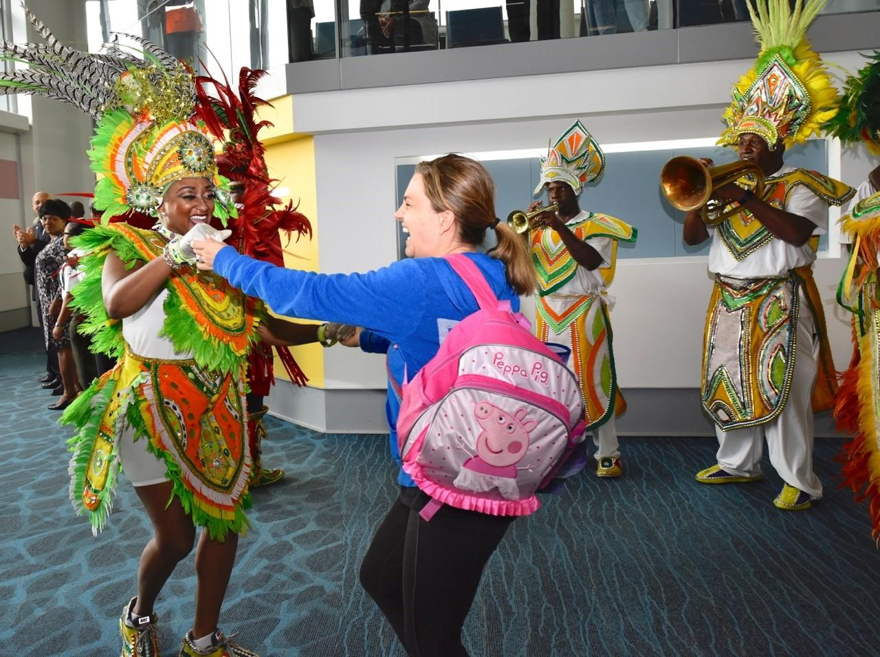 Visitors  Greeted with Junkanno  music by Bahamian Junkanoo Group