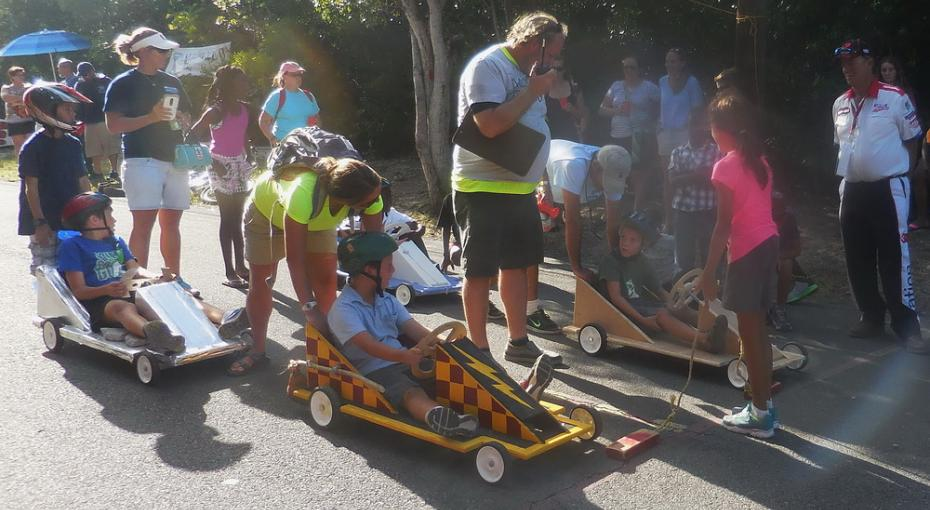 Children participating in the Hope Town Box Cart Derby / Photo by Dave Ralph