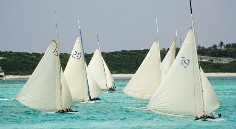 Boats sailing in the National Family Island Regatta